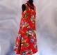 Robe trapèze rouge à fleurs sans manches en coton imprimé shalimar