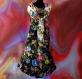 Robe trapèze noire à fleurs sans manches en coton imprimé shalimar