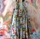 Jupe longue / robe en coton shalimar gris perle à fleurs smockée à la taille 45 pans