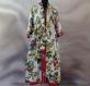 Longue robe d'intérieur kaftan ample en coton imprimé blanc à fleurs shalimar