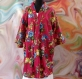 Kimono robe de chambre courte rose fuchsia à fleurs en coton imprimé shalimar