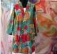 Kimono robe de chambre courte vert lagon à fleurs en coton imprimé exotic