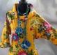 Tunique femme jaune à fleurs à manches longues en coton collection shalimar