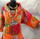 Tunique femme orange à fleurs à manches longues en coton collection exotic