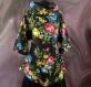 Tunique femme noire à fleurs à manches longues en coton collection shalimar