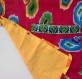 Tablier de cuisine enfant rose fuchsia et jaune en coton motifs paisley
