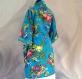 Kimono robe de chambre courte bleue à fleurs en coton imprimé shalimar