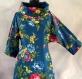 Tunique femme bleue à fleurs à manches longues en coton collection shalimar