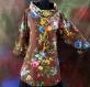 Tunique femme marron à fleurs à manches longues en coton collection shalimar