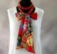 Collier foulard en tissu imprimé rouge shalimar avec perles de ouatine