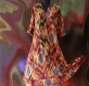 Longue robe kurta tons bruns et multicolores en coton motif ethnique ikat