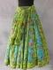 Jupe longue à fleurs bleue et verte en coton oiseaux de paradis 45 pans
