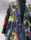 Kimono robe de chambre bleu marine à fleurs en coton imprimé shalimar
