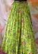 Jupe longue à fleurs vert pomme en coton oiseaux de paradis 45 pans