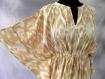 Tunique longue kaftan beige et blanche en coton imprimé ethnique ikat