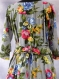 Robe longue cache coeur en coton imprimé shalimar gris à fleurs