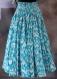 Jupe longue bleue et blanche en coton motif ethnique ikat 45 pans
