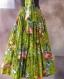 Jupe longue à fleurs sur fond vert en coton shalimar 45 pans