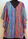 Tunique ample bleue et rose à rayures manches courtes africa en coton