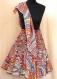 Jupe courte multicolore en coton imprimé motif vagues en 36 pans