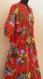 Tunique longue kaftan rouge à fleurs coton imprimé shalimar