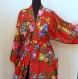 Kimono robe de chambre rouge en coton imprimé shalimar