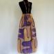 Jupe longue multicolore pop art, saumon, safran et violet, élastiquée à la taille en viscose doublée coton