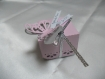 Ballotins dragées papillons en 3 dimensions rose et argent baptême, mariage, anniversaire, communion