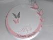 Faire-part baptême avec papillons rond(modele ayla 2), cercle concentriques personnalisable .