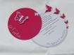 Faire-part rond papillons (modéle noélia), cercles concentrique personnalisable baptéme, naissance