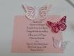 Menu carte sur chevalet, papillon 3d assortie au faire-part papillons .