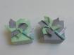 Ballotin, boîte dragées moulin à vent 3 dimensions vert pastel et gris, baptême, mariage, anniversaire