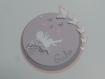 Faire-part rond fée et papillon (modèle giulia ) 3 dimensions et ciselés, mauve, gris et rose , cercles concentrique personnalisable baptême,