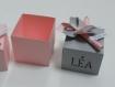 Ballotin, boîte dragées moulin à vent 3 dimensions rose et gris, baptême mariage anniversaire