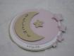 Faire-part rond lune et étoiles (modéle sélène) en 3d, cercles concentrique personnalisable baptéme, naissance