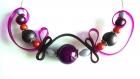 Collier perles magique, sangle silicone fushia et chocolat