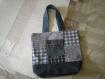 Grand sac cabas patché carrés bleus et jean