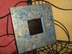 Miroir mural bleu et or décopatch et peinture 3d