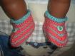 Chaussons bébé corail et céladon tricot main fille ou garçon