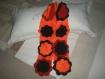écharpe polaire orange marron fleurs appliquées