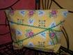 Grande trousse tissu jaune fleuri, croquet vert