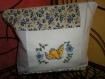 Grande trousse en lin et tissu ancien roses bleues