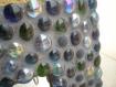 Miroir mosaïque galets de verre, joint gris foncé