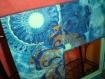 Miroir turquoise en bois et papier décopatch, peinture 3d