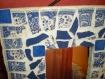 Miroir en mosaïque pique-assiette et émaux de briare bleu