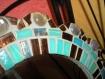 Miroir fleur mosaïque pâte de verre turquoise et chocolat