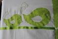 Couverture bébé thème oiseaux, vert et blanc