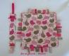 Attache sucette et doudou étiquettes coordonné pour fille trèfles rose/violet