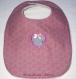 Bavoir romantique réversible fille 6 -18 mois rose et gris avec coeur appliqué et petit noeud