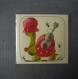 "Carte ""juju, la tortue guitariste "", 10x10cm, dépliée 10x20cm"
